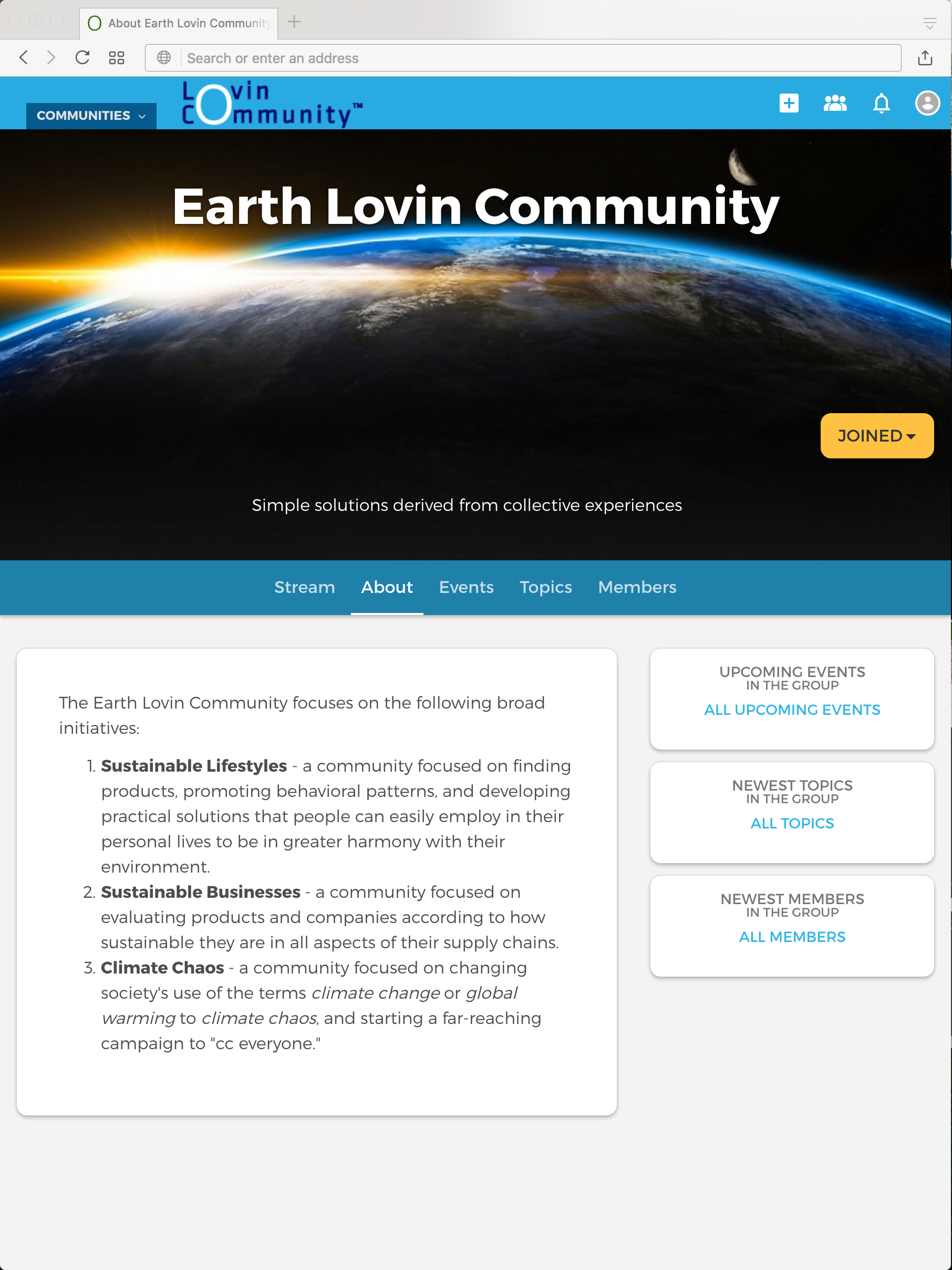 About the Earth Lovin Community